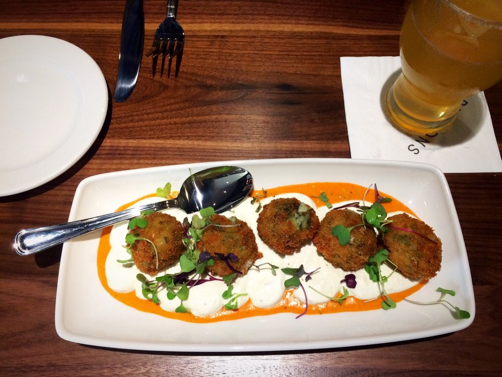 Spinach And Artichoke Fritters With Whipped Goat Cheese
