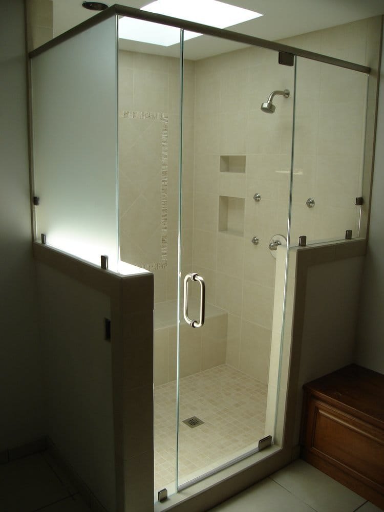 Frameless Shower With Header Pony Walls And Satin Etch