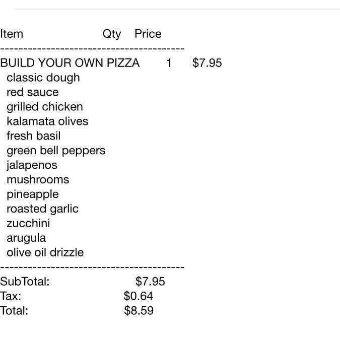 my online order receipt yelp