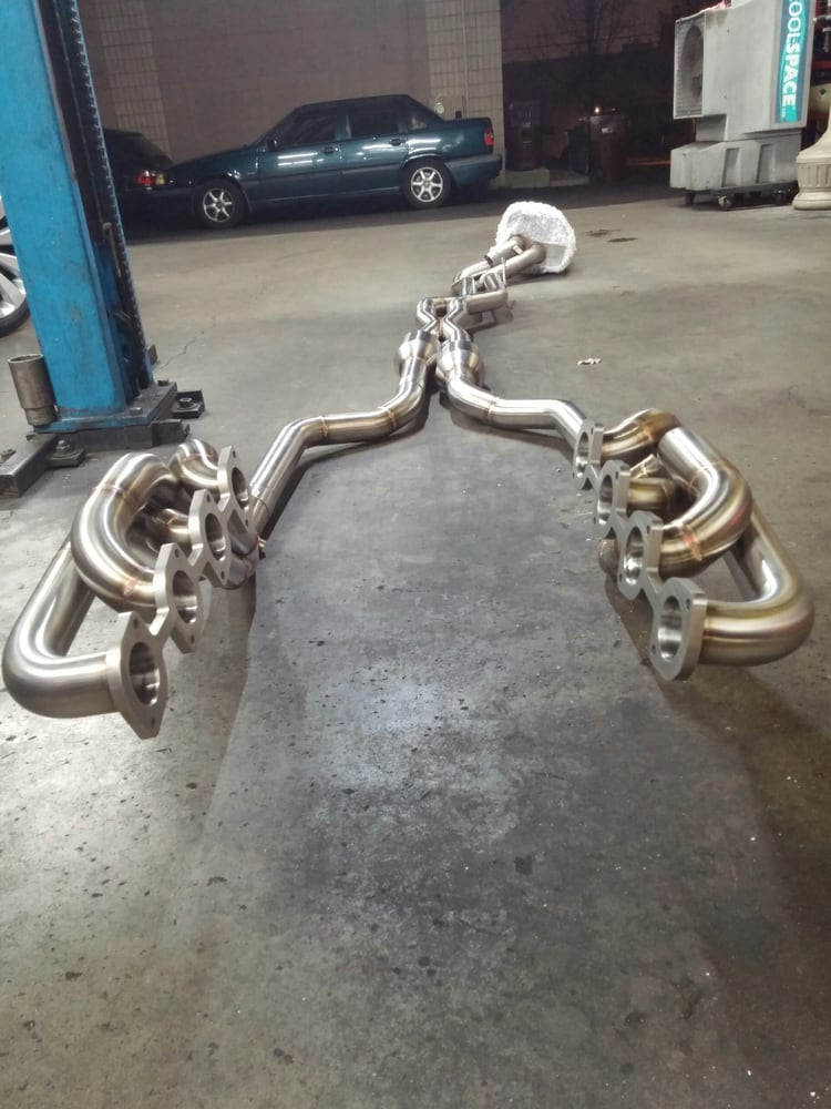 W210 e55 long tube exhaust headers, mid pipe with x pipe to