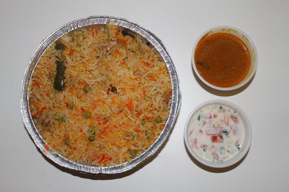 Hyderabadi vegetable dum biryani with salan & raita