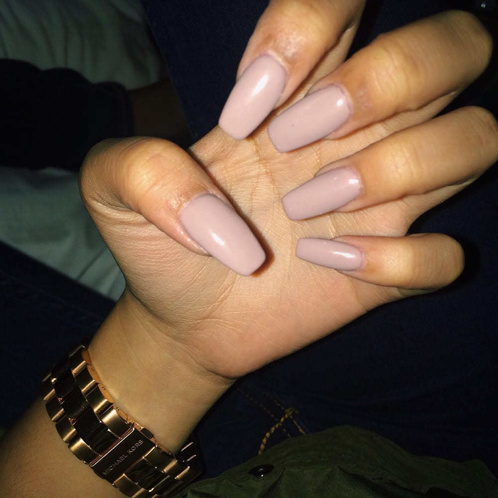 Neutral Beige Coffin Shaped Acrylic Gel Nails. No cuts! - Yelp