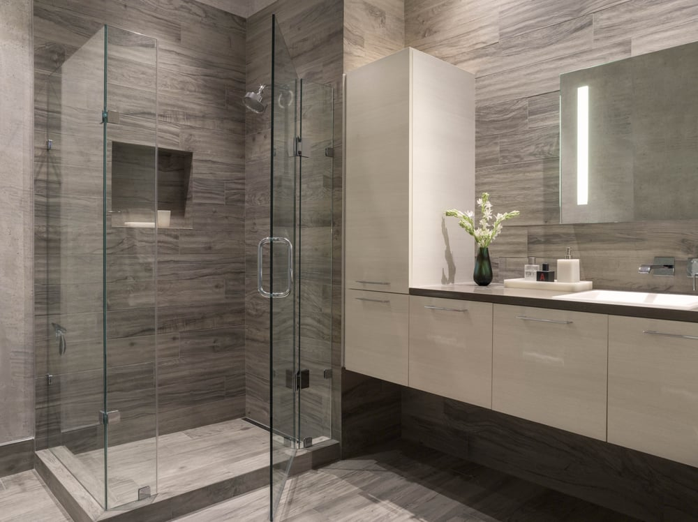 Townsend Modern Bathroom San Francisco Ca Gray White Glass Enclosed Shower Wallpaper Wall