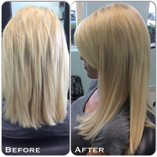 Beforeafter Hair Extensions On Thick Short Hair Blunt Cut Yelp