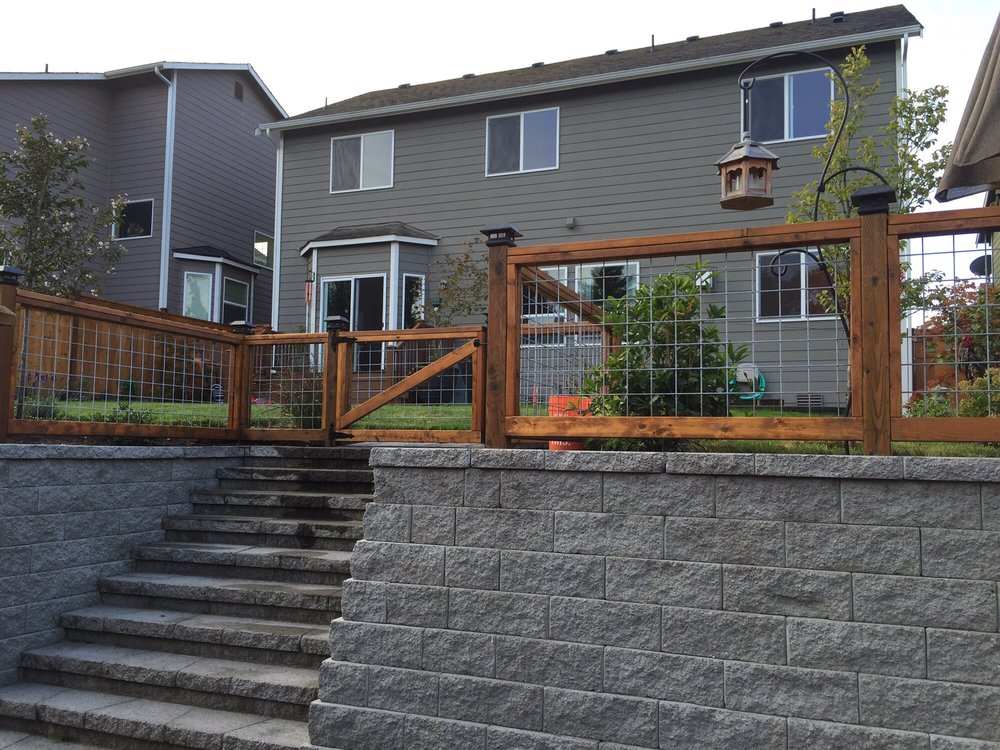 Retaining Wall And Hog Wire Fence With Gate Yelp