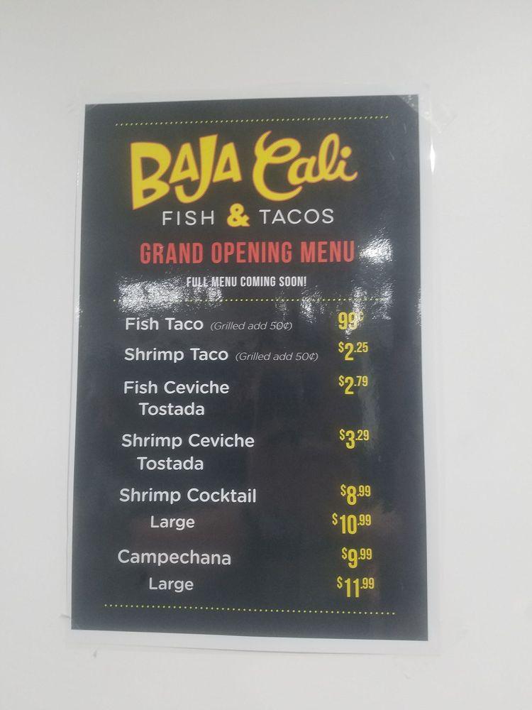 The menu soon they will have a full menu yelp for Baja fish tacos menu