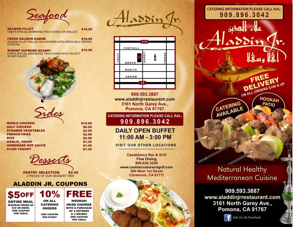 Aladdin Restaurant Casablanca Menu