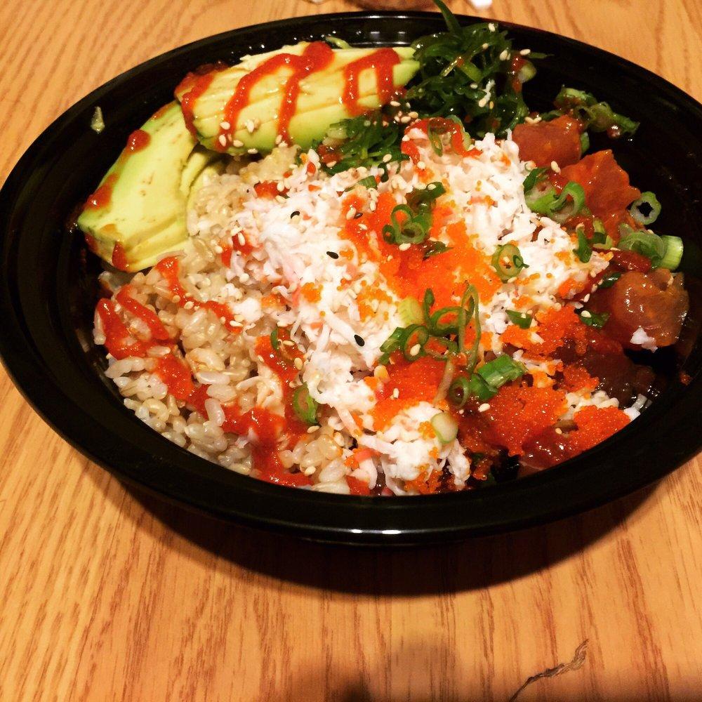 Regular poke bowl with brown rice and ahi tuna, avocado ...