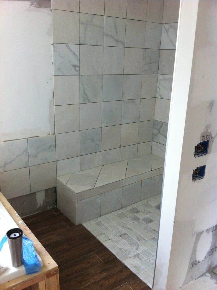 Current Tile Shower In Progress Marble And Wood Style Ceramic Yelp