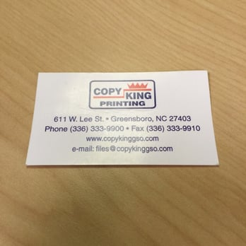 Copy king printing printing services 611 w gate city blvd photo of copy king printing greensboro nc united states business card reheart Images