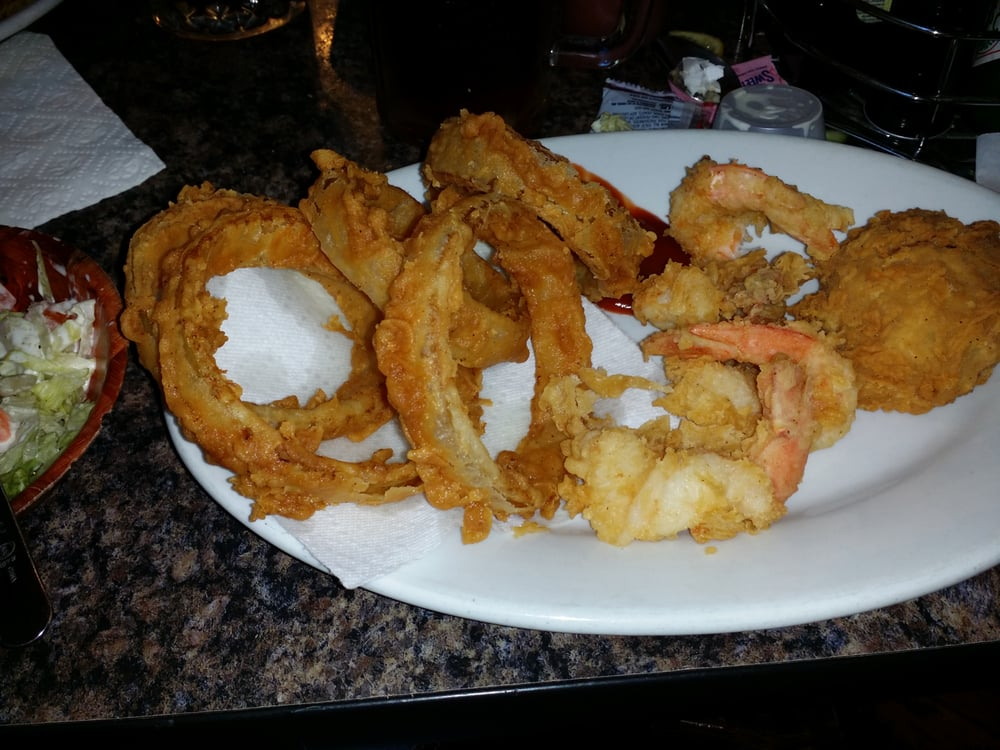 Fried Shrimp And Stuffed Crab With Onion Rings And Salad Amazingly Fresh Food Great Service