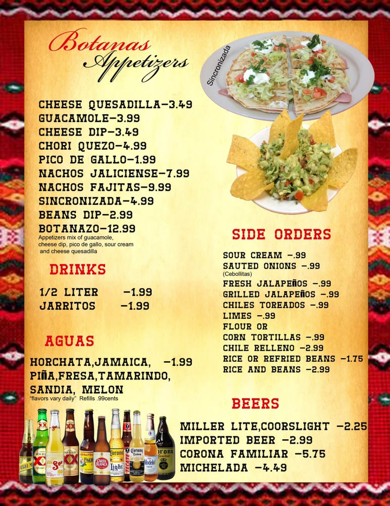Pesos Mexican Restaurant Menu