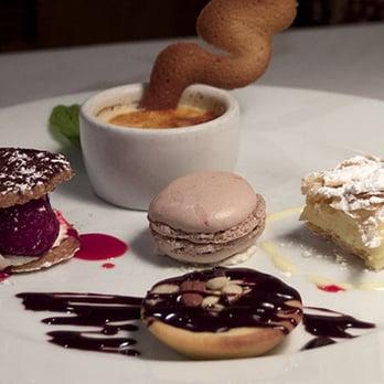 ... chocolate-cherry macaron, vanilla napoleon, chocolate / praline tart