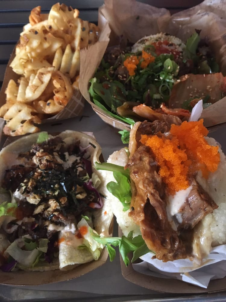 Beef taco, braised pork koja and beef rice bowl back there - Yelp