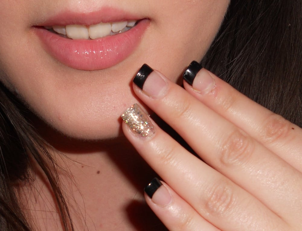 Full set of acrylic nails with black french tips and glitter ring ...