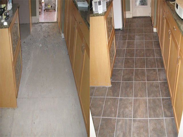 Before And After Of Kitchen Ceramic Tile Floor Installation Yelp
