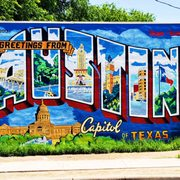 Greetings from austin postcard mural 55 photos 36 for Austin mural location
