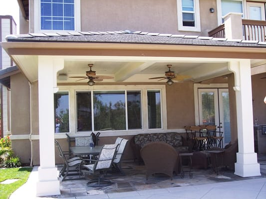 Solid Tile Quot Hip Quot Roof Patio Cover With Ceiling Fans