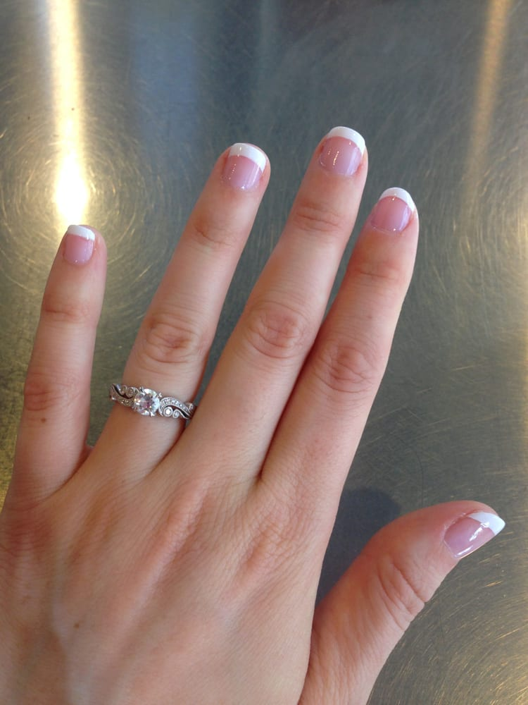 French manicure on natural nails done at Blue Ocean Nails & Spa (for ...