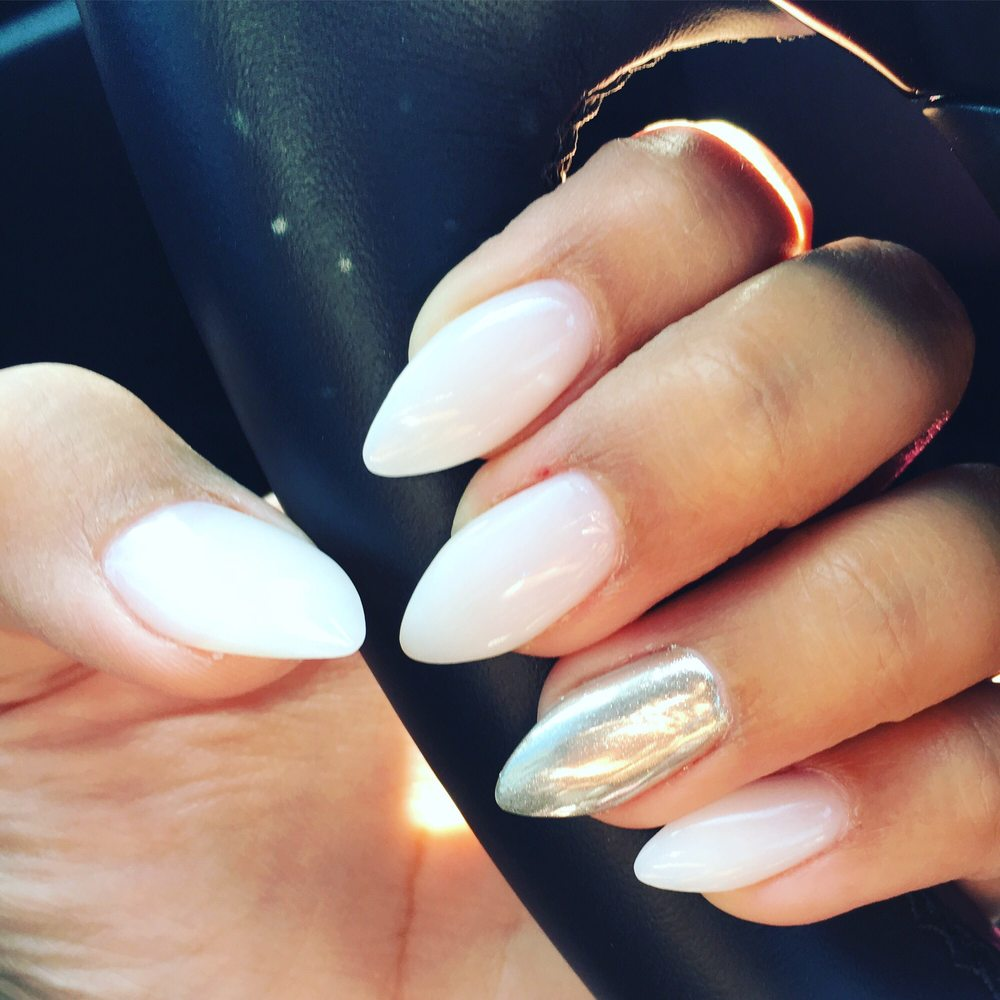 Soft white Nexgen Nails and chrome on the ring finger! Ah-MAZING! - Yelp