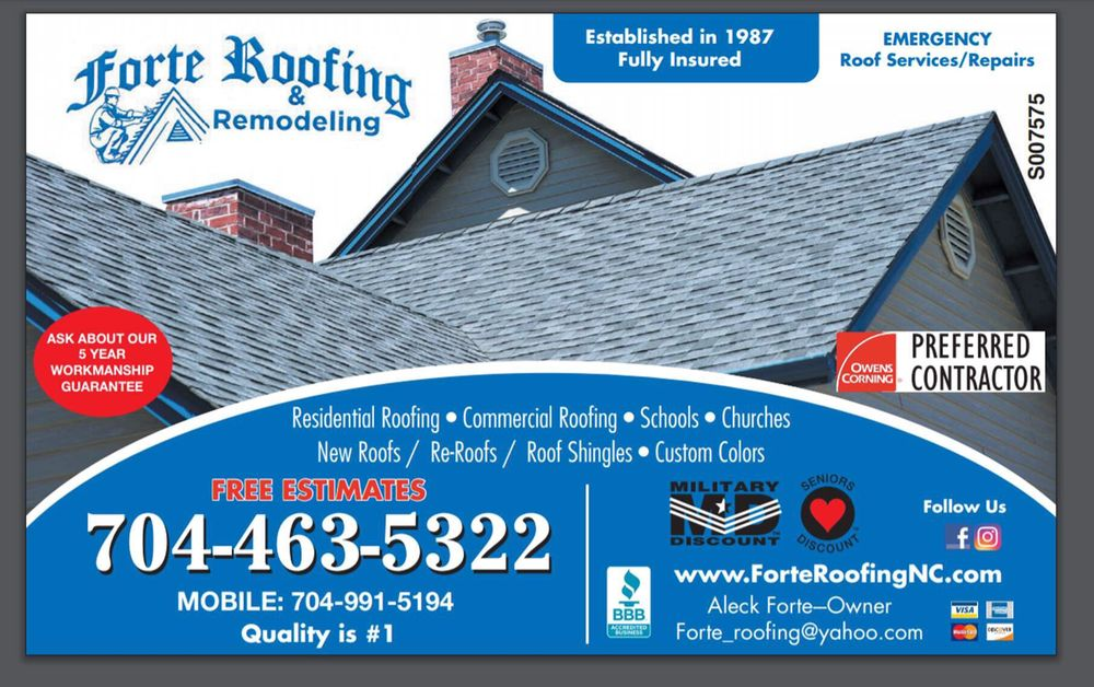 Forte Roofing and Remodeling: Richfield, NC