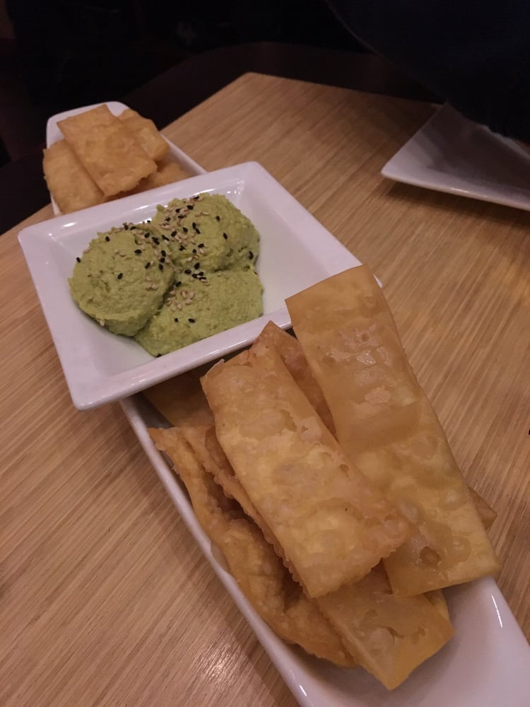 Edamame flavored hummus served with chips yelp for Drunken fish kansas city