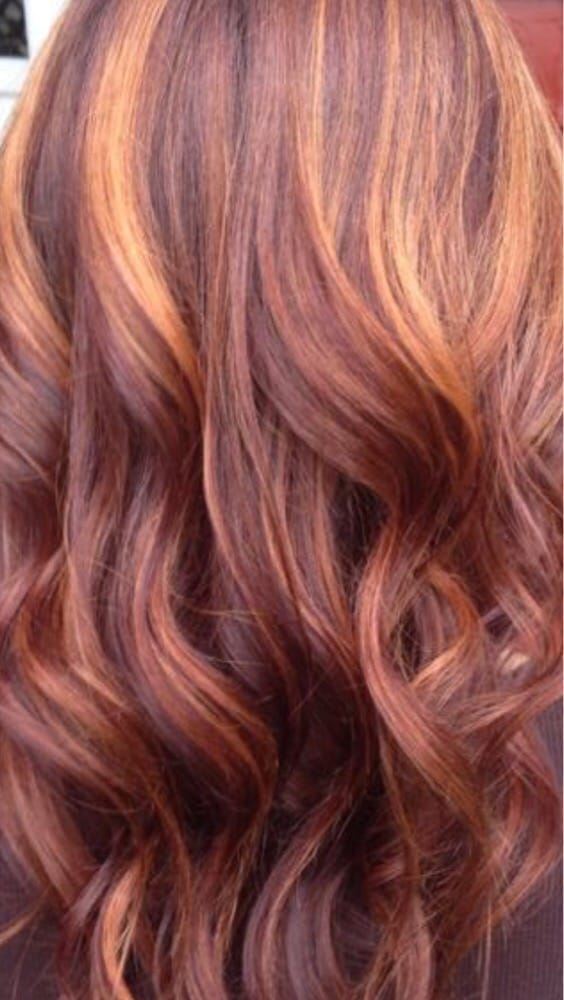 Red brown with copper highlights. Hair by Valarie Doucen ...