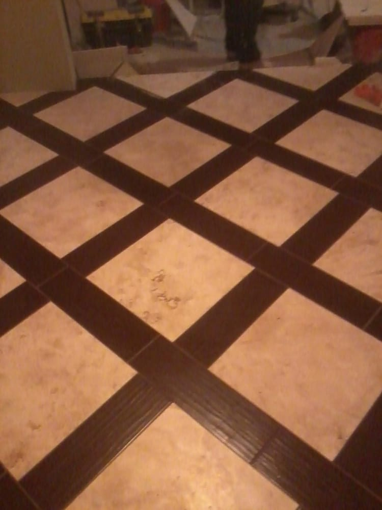 Travertine tile with wood border yelp for Floor tiles border design