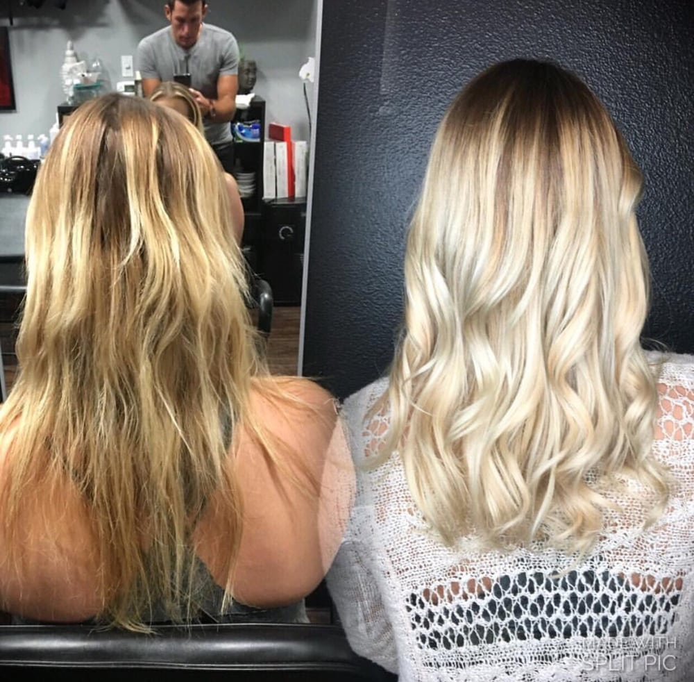 Before And After Hot Head Hair Extensions Toned Blonde Darker