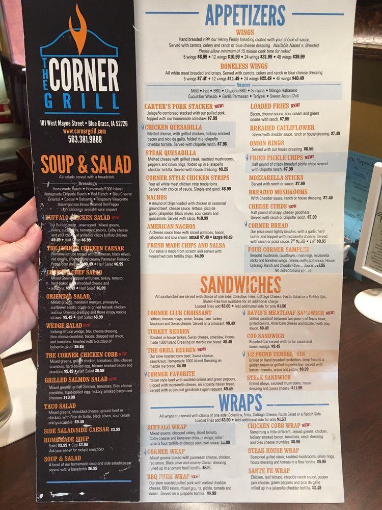 The Corner Grill: 101 W Mayne St, Blue Grass, IA