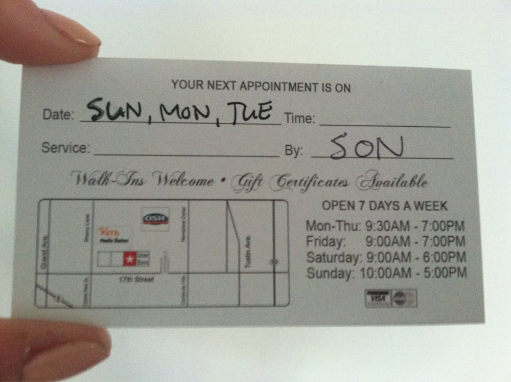 Back of business card with hours and map. (My appointment was with ...