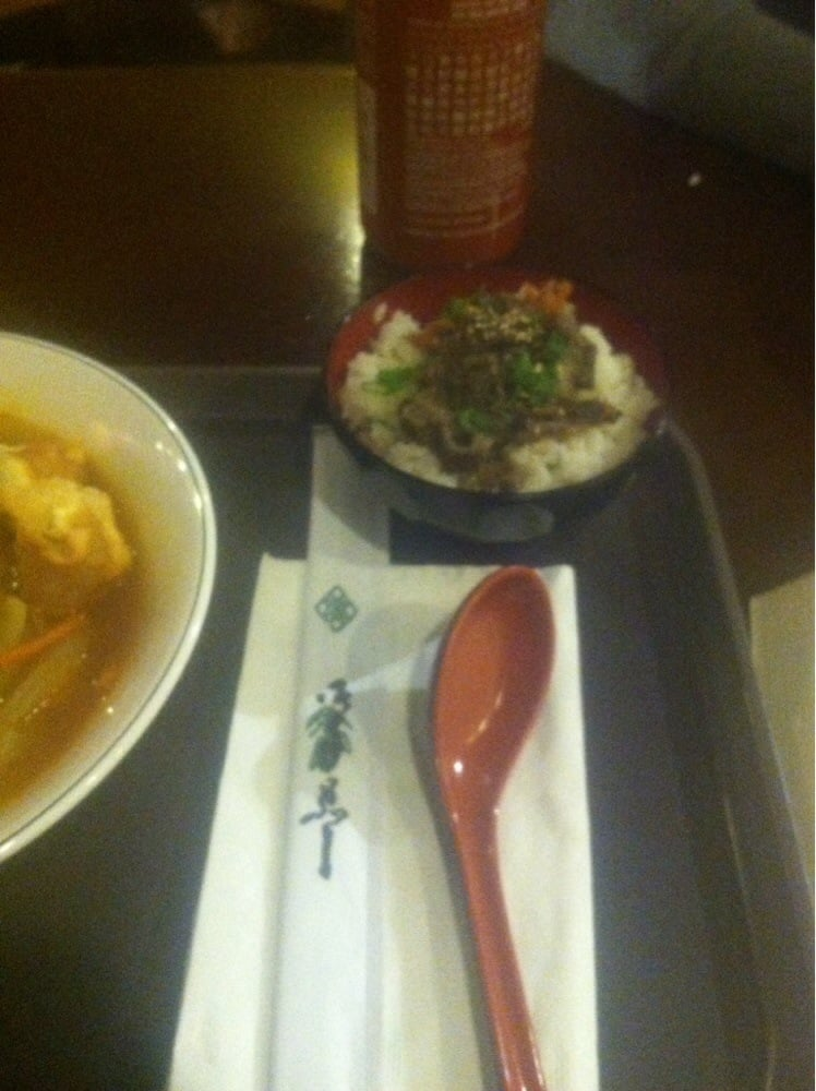 Side of rice and beef with ramen which was a nice addition for Akina japanese cuisine