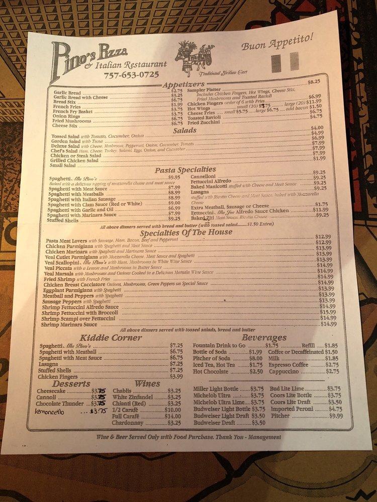 Pino's Pizza: 23319 Jerusalem Rd, Courtland, VA