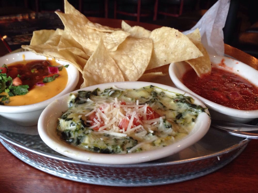 Triple Chips and Dip (Spinach Artichoke Dip, Steak Chili ...