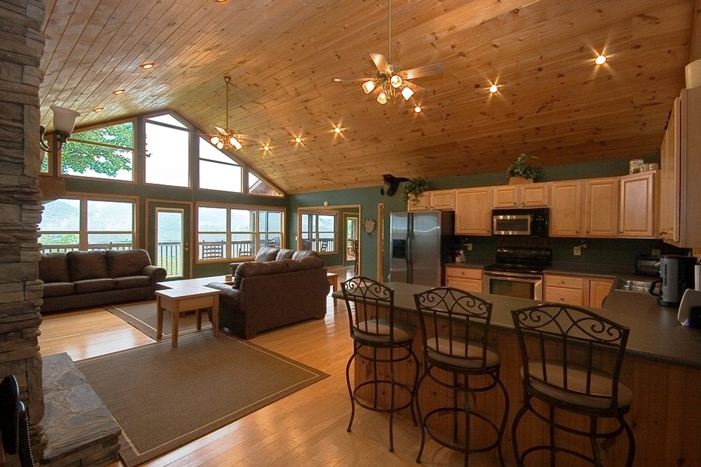 Great room smoky mountain views 50 hdtv fireplace for Vaulted ceiling great room