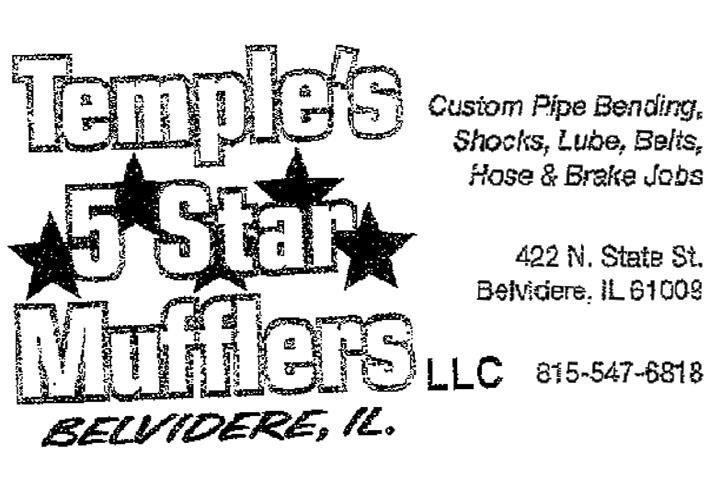 Temple's 5 Star Mufflers: 422 N State St, Belvidere, IL