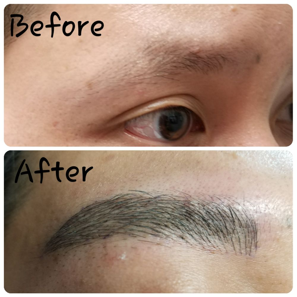 Immediately after microblading and microshading by julie for Eyebrow tattoo men