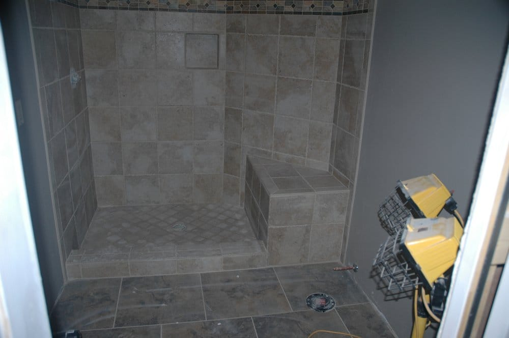 Floor Tile Shower Surround Including Seat Curb Alcove
