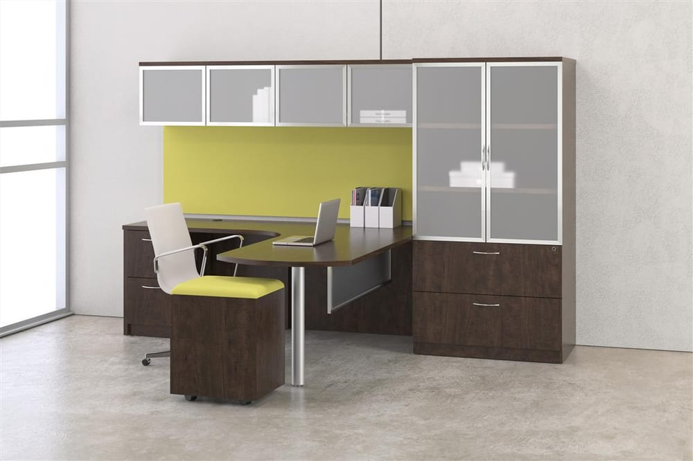 Sleek Budget Savvy Peninsula Desk Set Up Comes In Many Finishes And Siz