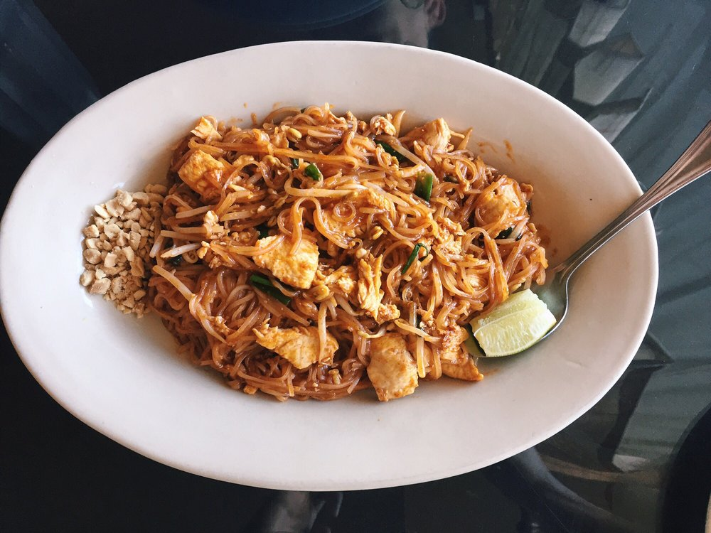 Chicken pad thai combo comes with appetizer salad and for At siam thai cuisine