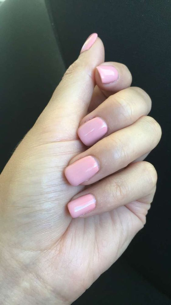 Creamy Peach Gel Polish. My nails are thin and brittle so they used ...
