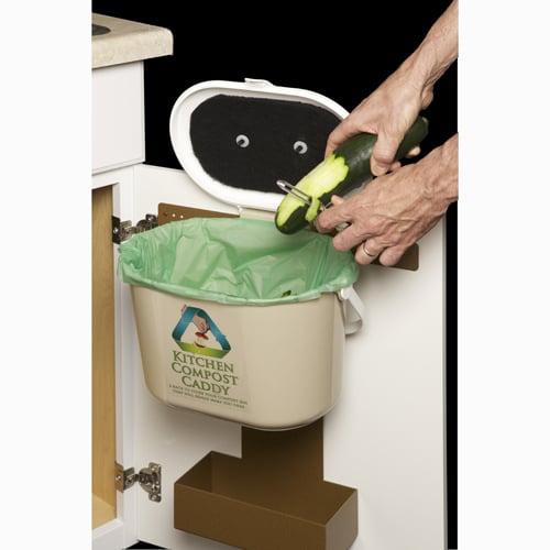 kitchen compost caddy with storage basket for compost bags. Black Bedroom Furniture Sets. Home Design Ideas