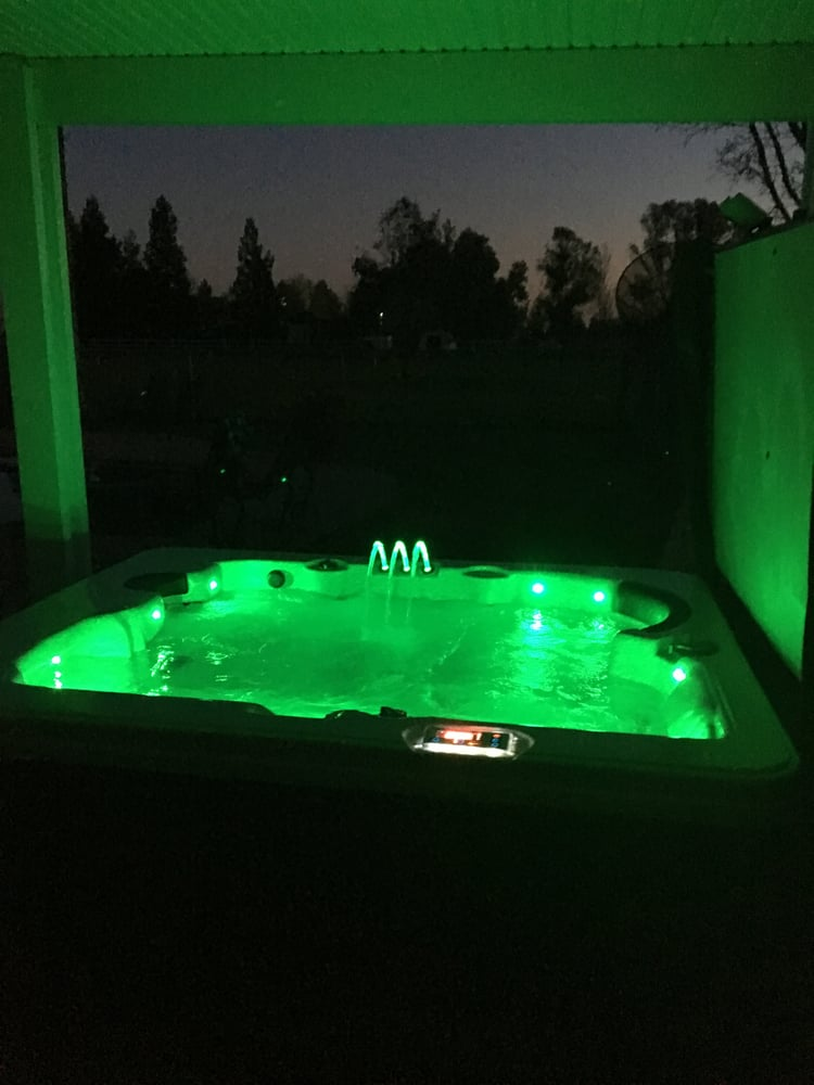 Photo with the color changing lights in our United Spas ...