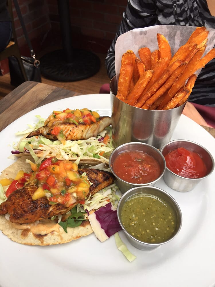 Blackened fish tacos with sweet potato fries light yet for Rock n fish manhattan beach
