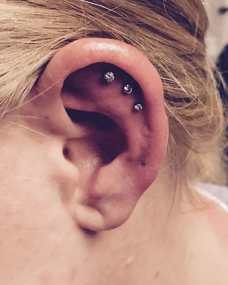 Cartilage Piercing Using Flat Back Jewelry For Comfort And Faster