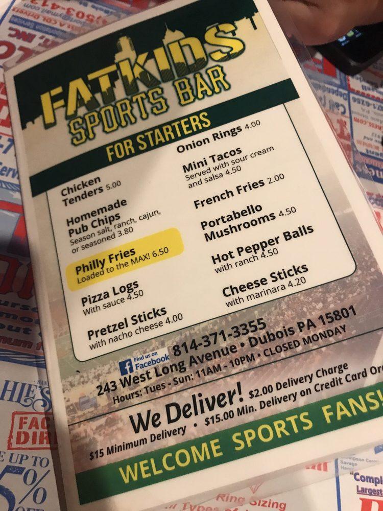 Fat Kids Sports Bar: 243 W Long Ave, Du Bois, PA