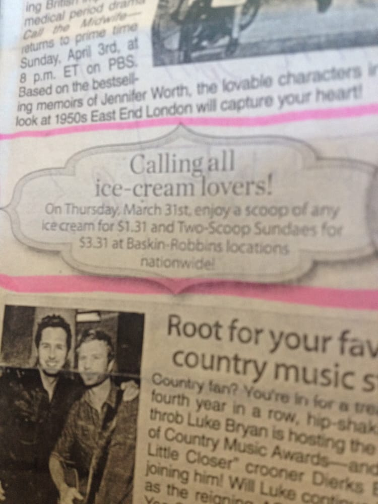 Baskin Robbins 31 Flavors Ice Cream-Smokey Point: 3411 169th Pl NE, Arlington, WA