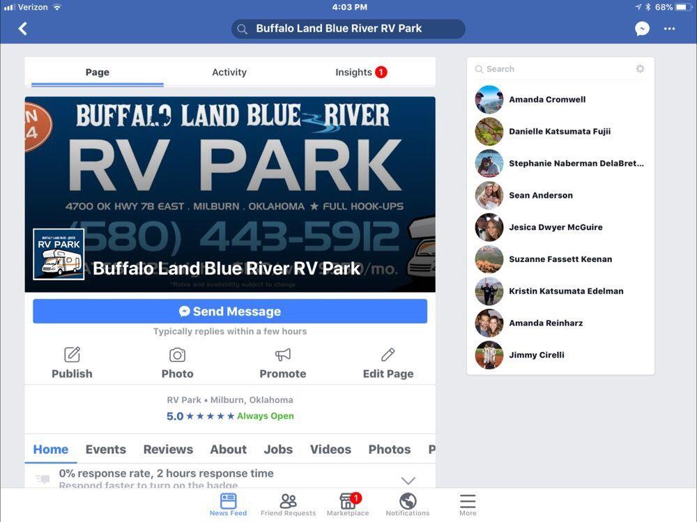 Buffalo Land Blue River RV Park: 4700 E OK Hwy 78, Milburn, OK