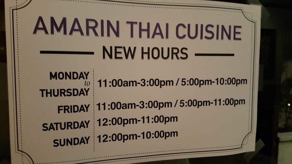 New hours yelp for Amarin thai cuisine