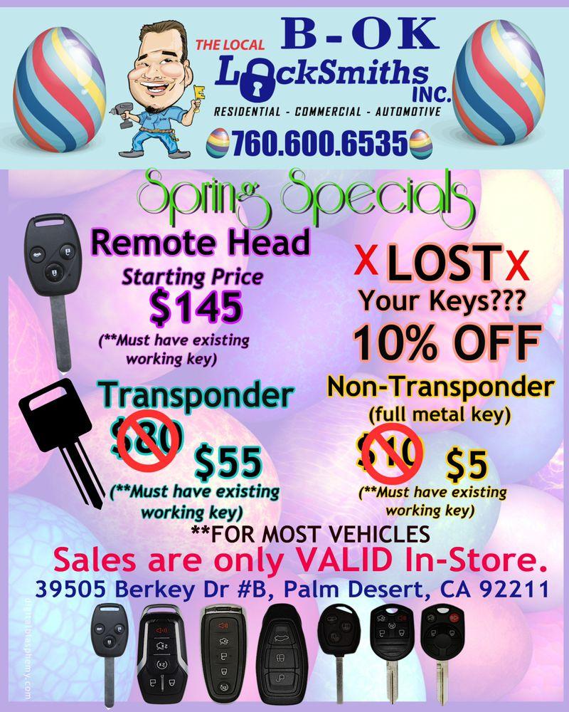 B-OK Locksmith: 39505 Berkey Dr, Palm Desert, CA